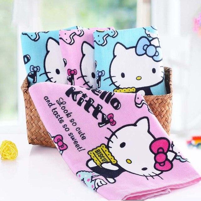 Handdoek Hello Kitty.Leuke Roze Blauw Katoenen Handdoek Microfiber Handdoek Badhanddoek Hello Kitty Sweetheart Gaas Handdoek Nieuwe 2018 Drop Shipping In Leuke Roze Blauw
