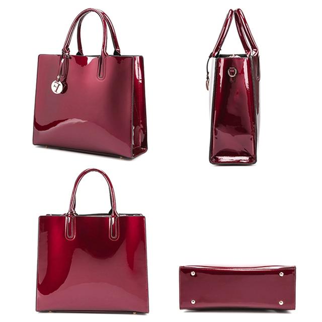 Brand 3 Sets Women Handbags High Quality Patent Leather Female Messenger Bag Luxury Tote+Ladies Shoulder Crossbody Bag+Clutch 2