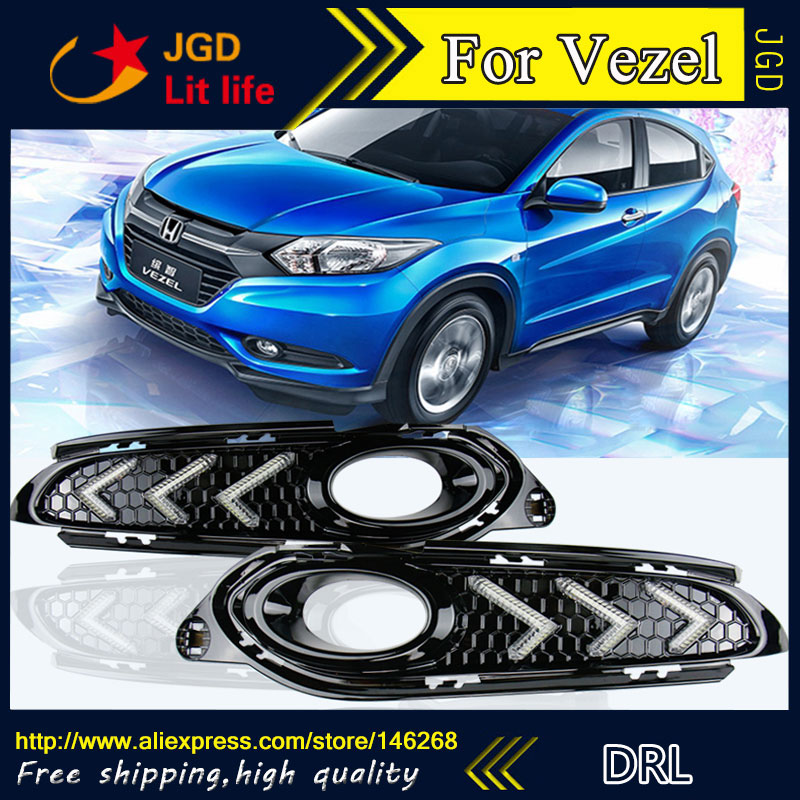 Free shipping ! 12V 6000k LED DRL Daytime running light for Honda Vezel XRV fog lamp frame Fog light