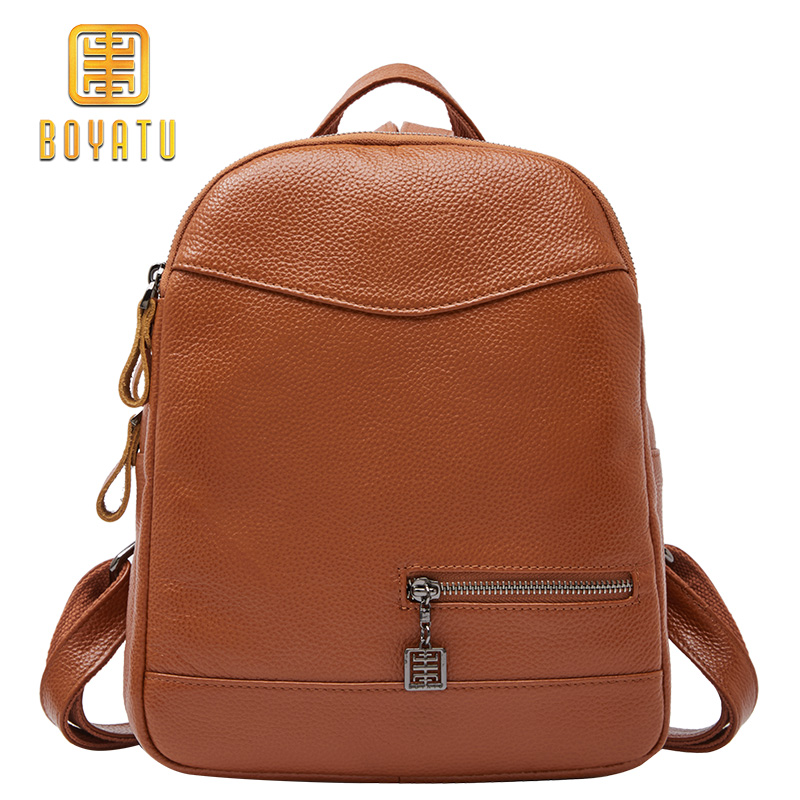 2018 Fashion 100% Leather Backpack Female Casual School Backpack Women High Quality Shoulder Bag For Teenage Girl Brand