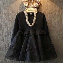 DFXD 2017 New Children Girls Long Sleeve Black Lace Organza Princess Dress England Style Kids Fashion Party Baby Costume