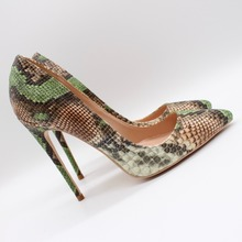 Free shipping fashion women Pumps lady Green snake python Pointy toe high heels shoes 10cm bride wedding 12cm 8cm