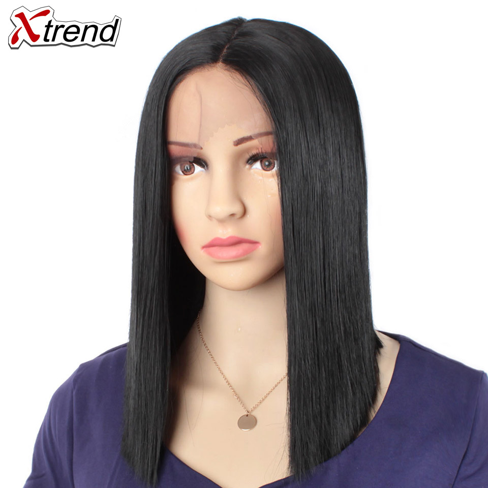 Xtrend Straight Synthetic Lace Front wig Middel Part Black Color 14 Inch Wigs For Women