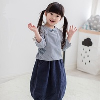 Baby Han Chinese Tradional Dress Blouse Skirt Cotton Linen Children Clothing Breathable Shirt Spring Coat Set
