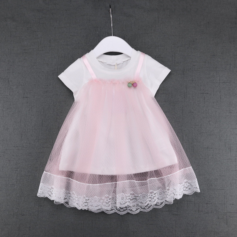 2017 New Fashion Summer Cute Lace Baby Girls Dress Korean Style Princess Clothes Kids Children's Costume 4 color 0-2T