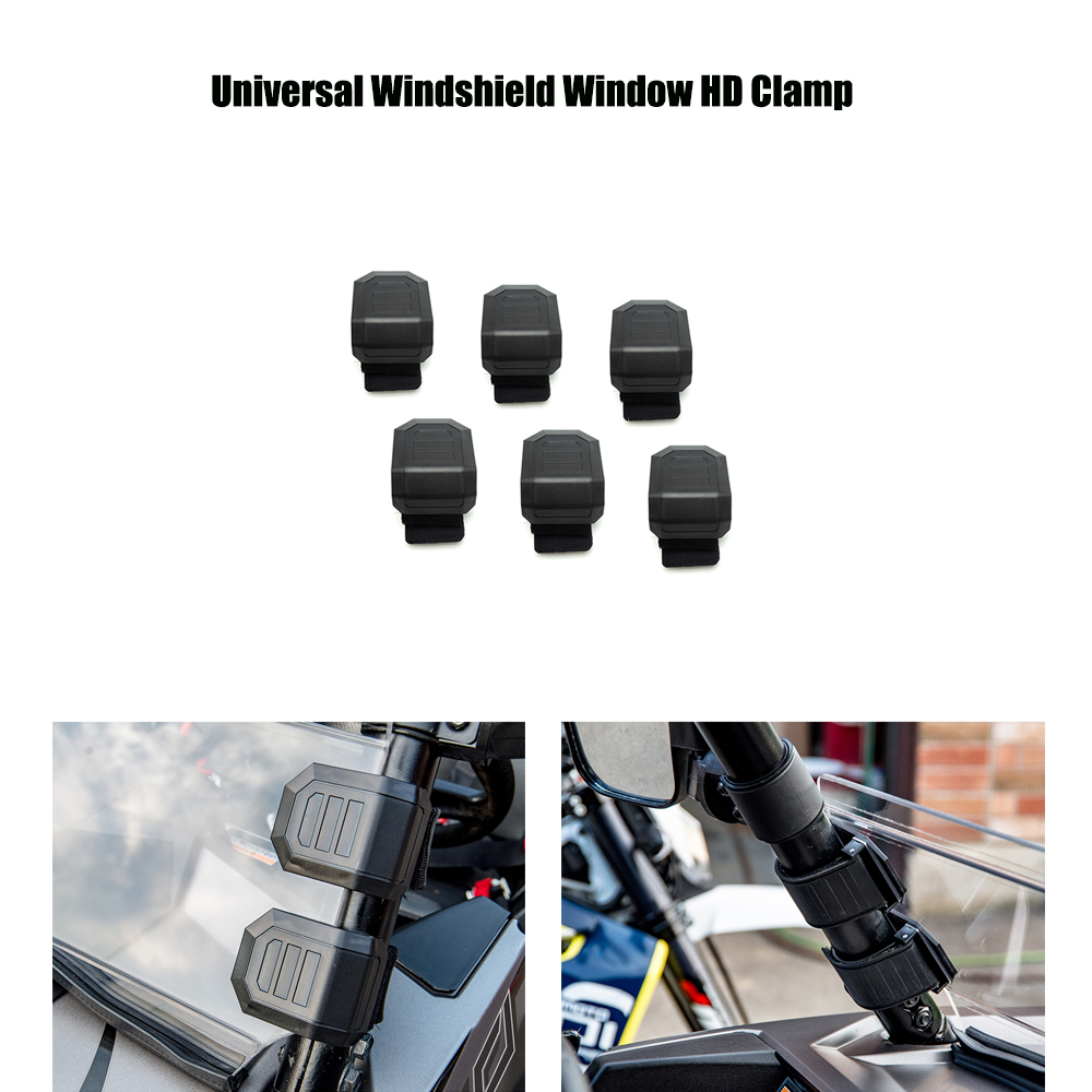 KEMiMOTO Universal Windshield Window HD Clamp For Polaris RZR XP For Honda Pioneer 500 700 1000 Rhino For Can-Am Maverick 1000R