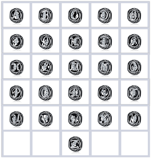 silver plated beads vintage crystal a z letter alphabet charms fit