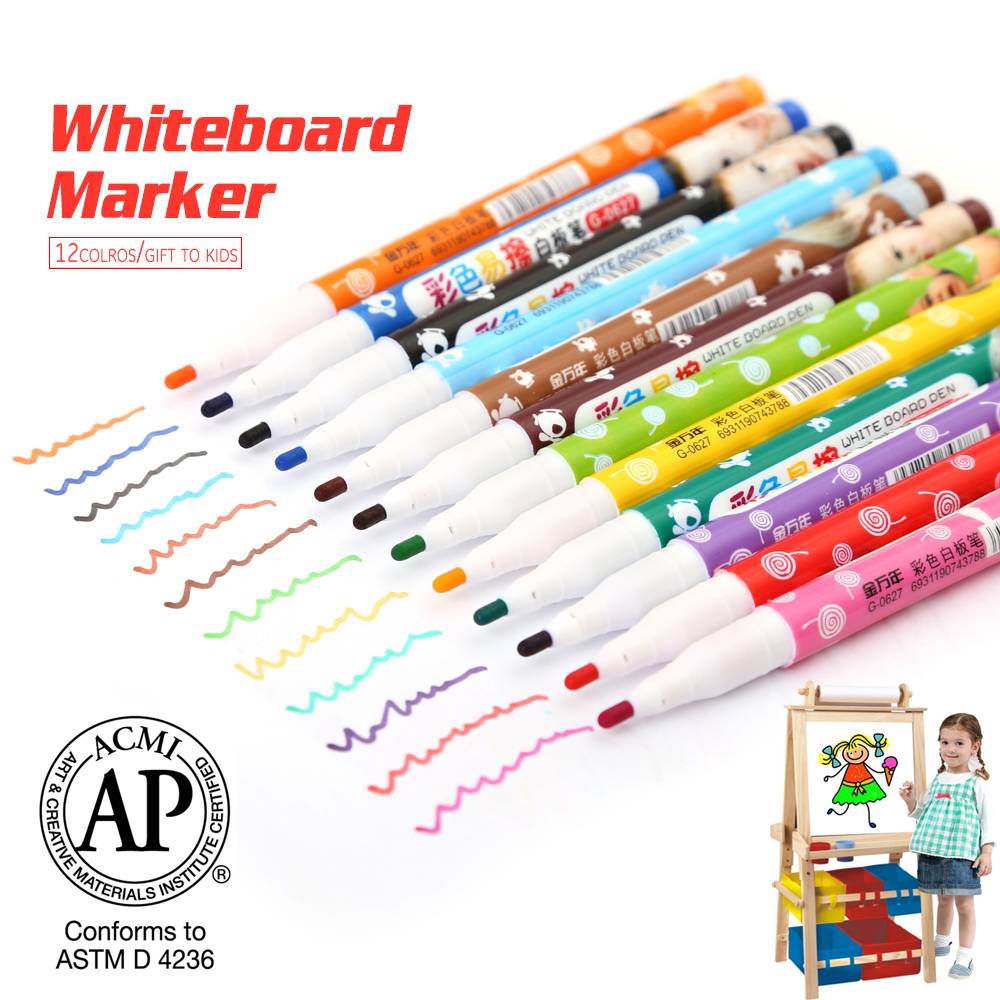 New 12Colors Whiteboard Pen Non-Toxic Calendar Erasable Dry White Board Marker pen For Kids Gift Teachers and Office Supplies 12pcs new 12 colors white board maker pen whiteboard marker liquid chalk erasable glass ceramics maker pen office school supply