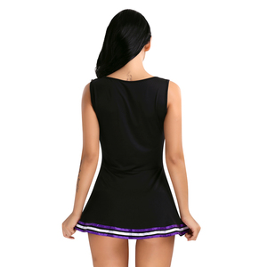 """Image 5 - Womens Cosplay Party Costume Cheerleader School Uniform Sleeveless Round Neck Printed """"CHEERS"""" Letters Fancy Mini Striped Dress"""