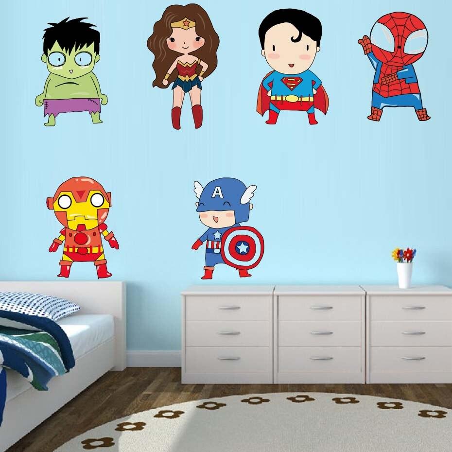 Superhero Wall Stickers Kids Boy Bedroom Decor Batman ...
