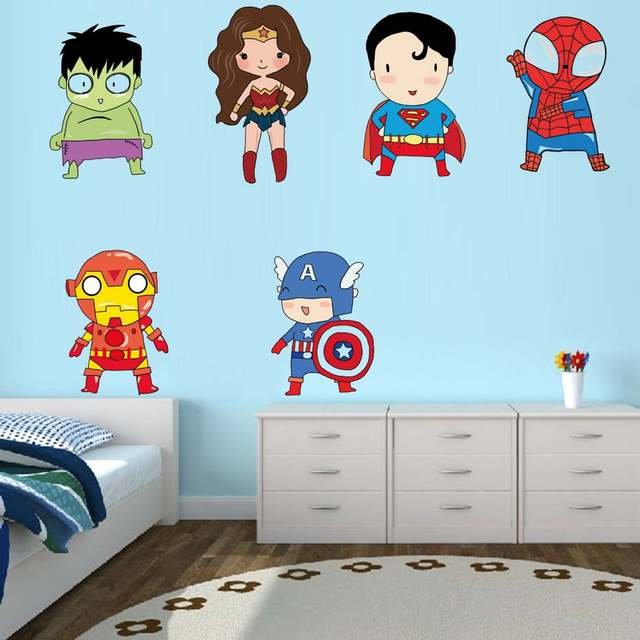 US $5.13 32% OFF|Superhero Wall Stickers Kids Boy Bedroom Decor Batman  Superman Vinyl Art Wall Decals For Kids Room Cartoon Superheros  Wallpaper-in ...