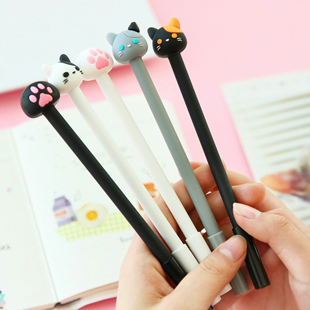 4Pcs/lot kawaii Cat Gel Pen papelaria Cartoon C School supplies Student Stationery Black ink Pen цена