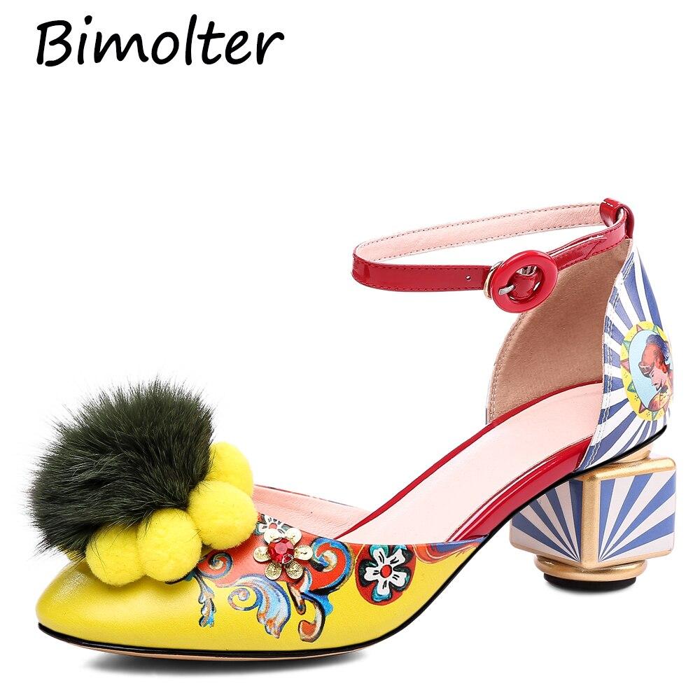 Bimolter New High Quality 3D Print  Pumps Retro Shoes For Women Strange Heels Party Wedding Prom Fashion Thick FB050