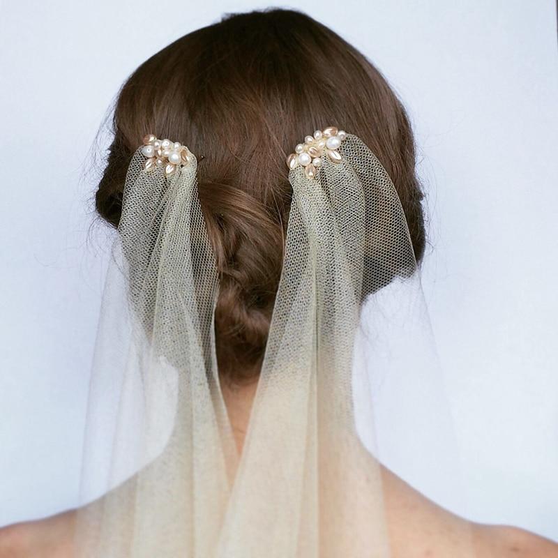 Styles Of Wedding Veils: Light Champagne Pearl Drape Wedding Veil 1920s Style