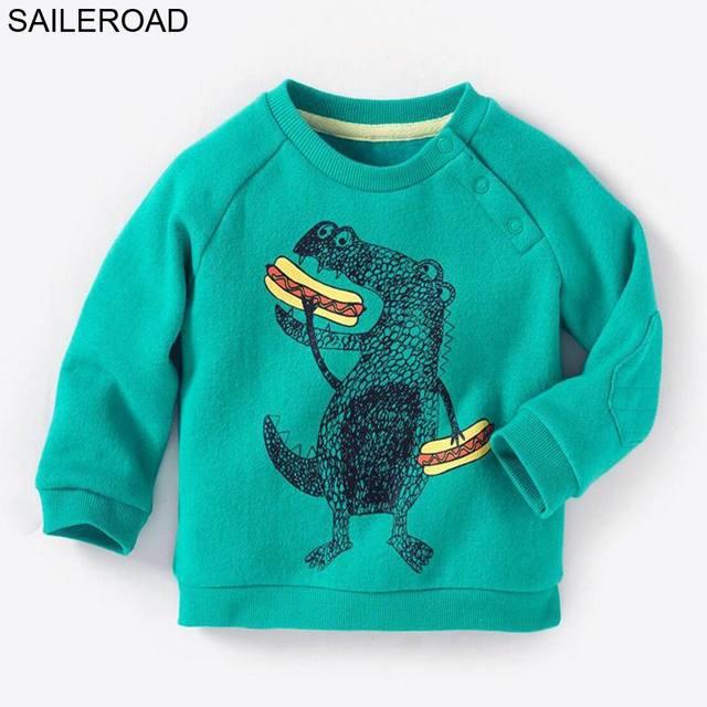 SAILEROAD 2-7Years Sweatshirt for Kids Cartoon Dinosaur Warm Sweatshirt for Children Long Sleeve T Shirts Autumn Boys Clothes