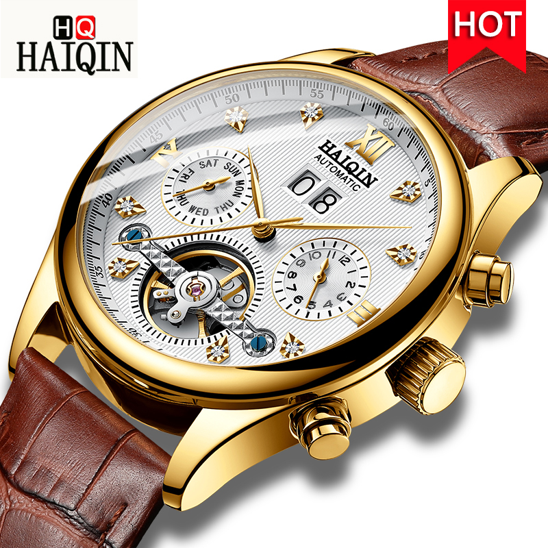 HAIQIN Luxury Business Mechanical Watch Men WristWatch Waterproof Casual leather clock Male Automatic Winding Tourbillon Watches fngeen luxury men watches self winding tourbillon wristwatch date high quality waterproof automatic hodinky mechanical watches page 6