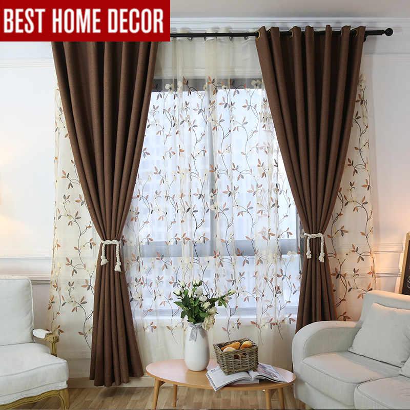 плотные шторы для спальни Современные Плотные Шторы для гостиная спальня тканевые шторы кофе плотные тюлб для гостиной