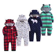 Newborn Baby Rompers F Padded Thicken Warm Girls Clothing Set Autumn Cartoon Toddler Hooded Clothes Unisex Infant Jumpsuits floral winter thicken newborn baby clothes warm kids girl clothing set rompers hats princess girls jumpsuits outerwear