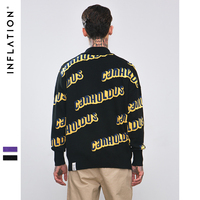 INFLATION Letter Sweaters Men Hip Hop Casual Pullover Sweater Male Fashion Loose Long Sleeve Streetwear Unisex Sweaters 8733W