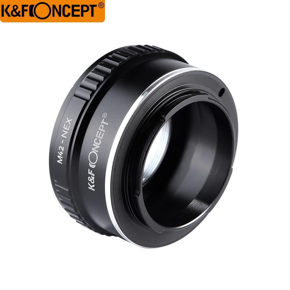 K & F CONCEPT M42-NEX Прафесійны аб'ектыў пераходны кальцо M42 аб'ектыў да корпуса камеры Sony NEX E-мацаванне NEX NEX3 NEX5n NEX5t A7 A6000 Альфа