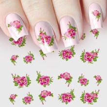 1pc Nail Sticker Water Transfer Decals Flower Romantic Rose Watermark Slider Gel Nail Art Decoration Manicure(China)