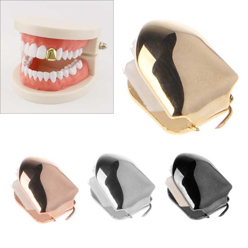الذهب الشظية اللون العصرية روك مغني الراب الهيب هوب قبعات قالب أعلى وأسفل شواء مجوهرات للجسم أسنان واحدة بلينغ الأسنان