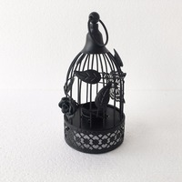 Black Metal Bird Cage Candle Holder Vintage Tealight Candle Lantern Rose Wedding Centerpieces Home Decoration Accessory
