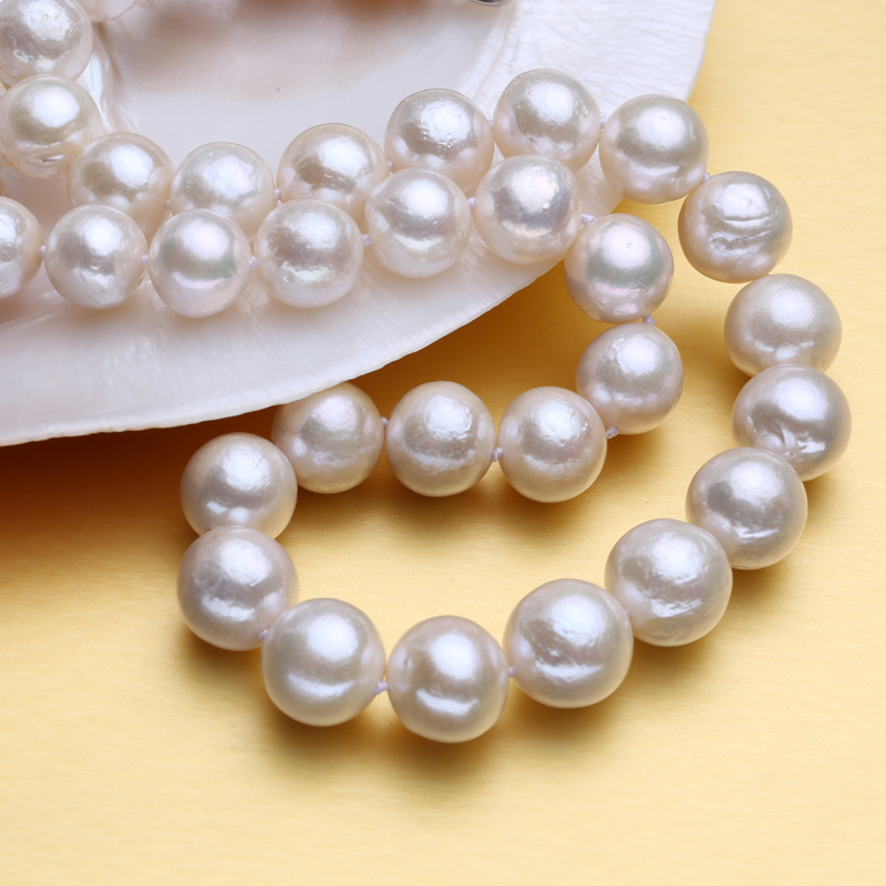 FENASY fine big round pearl 10-15mm natural freshwater black pearl necklace for women gift,pearl jewelry choker necklace classic