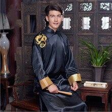 Homens túnica Chinês tradicional oriental do sexo masculino dos homens roupas xangai cheongsam Chinês tang terno para os homens bordado Vestido Dragão