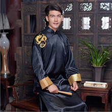 Tunic men traditional Chinese male oriental mens clothing shanghai cheongsam Chinese tang suit for men embroidered Dragon Gown