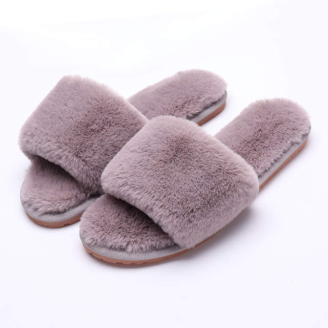 aec5a5db8743df placeholder Women Winter Slippers House Faux Fur Soft Fashion Female Slide  Plush Slippers Fluffy Flip Flop Furry