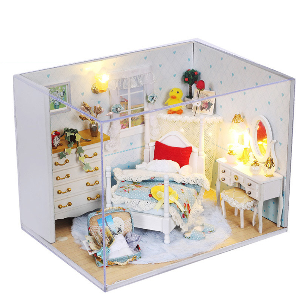 DIY Miniature Room Wooden Doll House Dream Princess with Furniture LED Lights Dust Cover Dollhouse Toys for Children