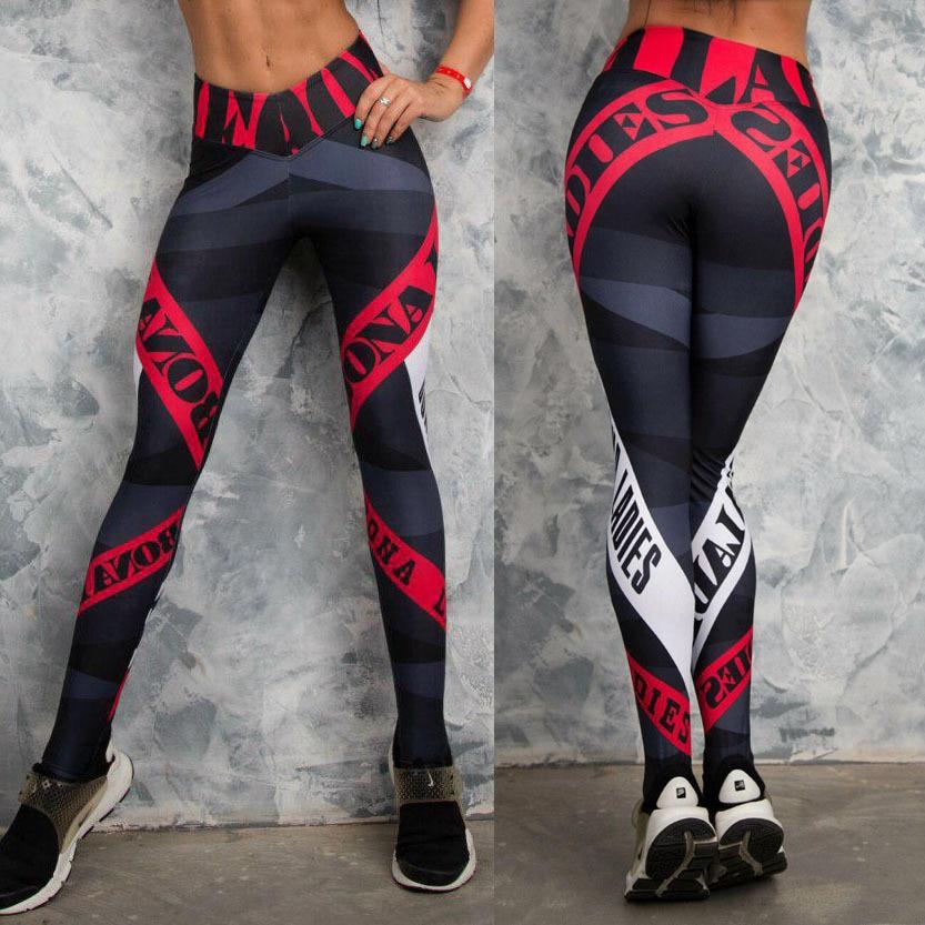 Hank Wolf Womens Sport Leggings Yoga Pants Letters Printed Yoga Compression Pants Women Fitness Leggings Running Tights S-XL
