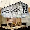 Tetragonal Crystal Chandelier Restaurant Beads F Type Black Crystal Hanging Lighting Lamps Restaurant Cafe Chandeliers EET