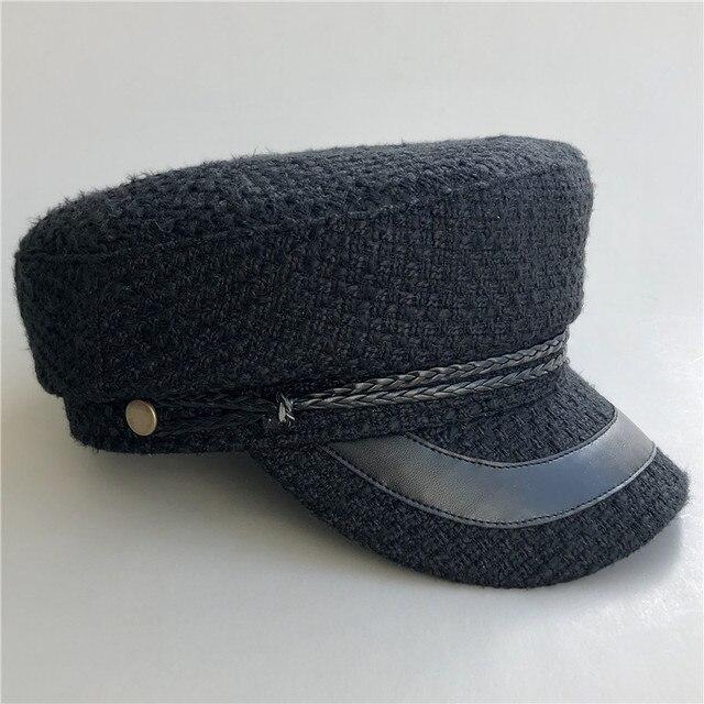 Otoño Invierno 2018 Vintage sombreros para las mujeres nuevo caso blanco y  negro Tweed sombrero militar c42d9736801