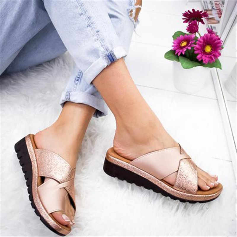 2019 Dames Slippers Bling Torridity Strand Casual Schoenen Platte Slides Dikke Zolen Kurk Slipper Mode Flops
