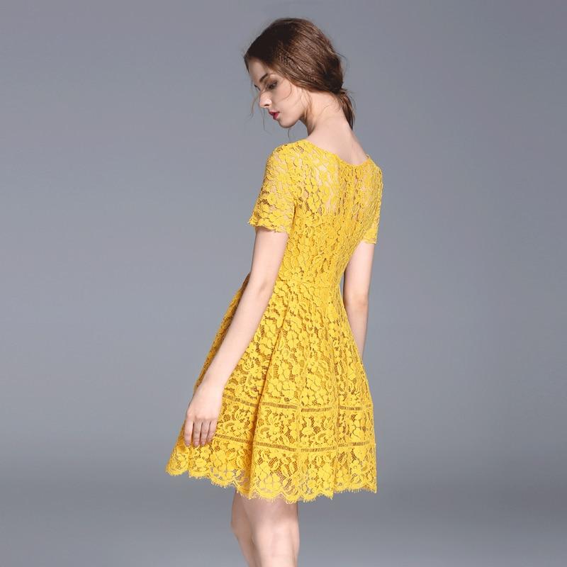 Yellow lace mini kleid kurzarm o halskette junge mädchen partei ...