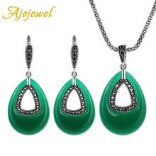 Ajojewel gota de agua verde sistemas de la joyería de resina de la vendimia de plata antigua plateó los pendientes y collar de los accesorios del vestido de noche