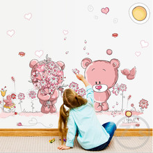 Zs Sticker Cute Pink Bears Wall Stickers for Kids Room Home Decor Nursery Wall Decal Children Baby House Mural(China)
