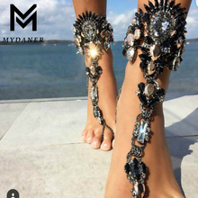 Fashion Boho Crystal Anklet Bracelet Vintage Maxi Women Statement Beach Vacation Sandals Sexy Leg Chain Female Foot Jewelry