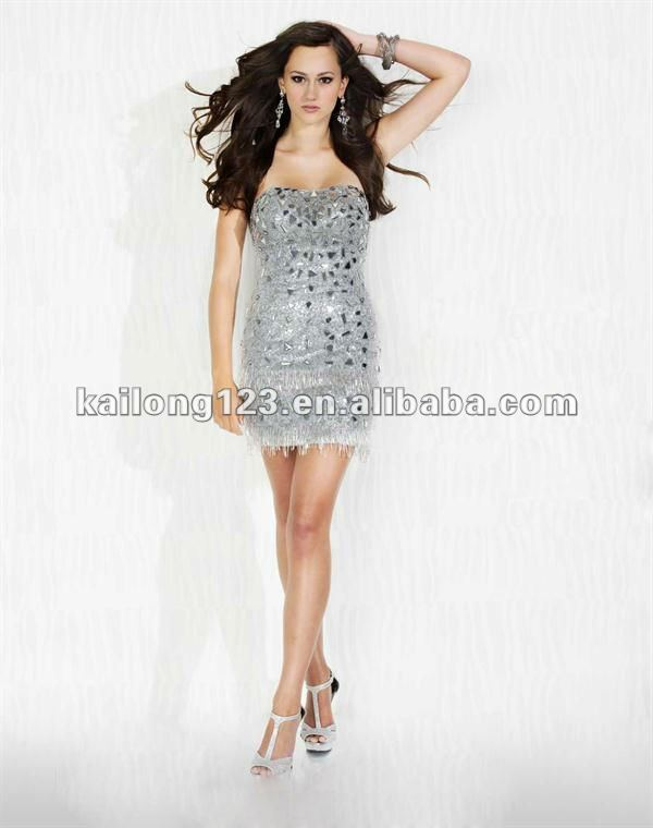Aliexpress.com : Buy Fashion Strapless Fitted Beaded Sequined ...