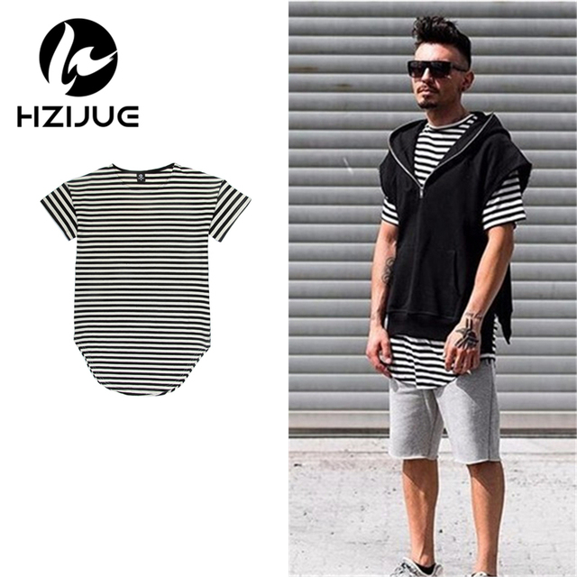 HZIJUE 2017 summer Striped Cotton Men T Shirts Hip Hop Kanye Street Wear Curved Hem Long T Shirt Men Famous Hip Hop Brand