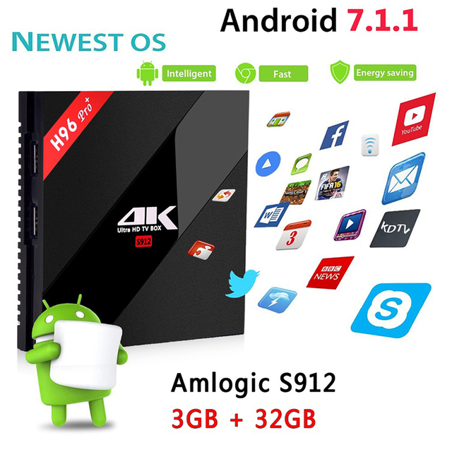 H96 PRO + Plus Smart TV Box Amlogic S912 Octa Mali-T820MP3 GPU 2G/16G 3G/32G Android 7.1 2.4G/5.8 GHz Wifi Bluetooth décodeur
