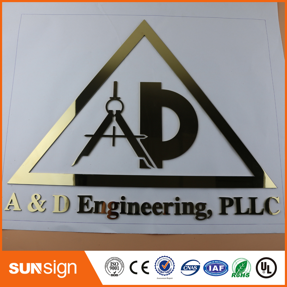Laser Cutting Fine Grinding Customed 3D Metal Word Emblem Digital Figure Number Logo For Your Company