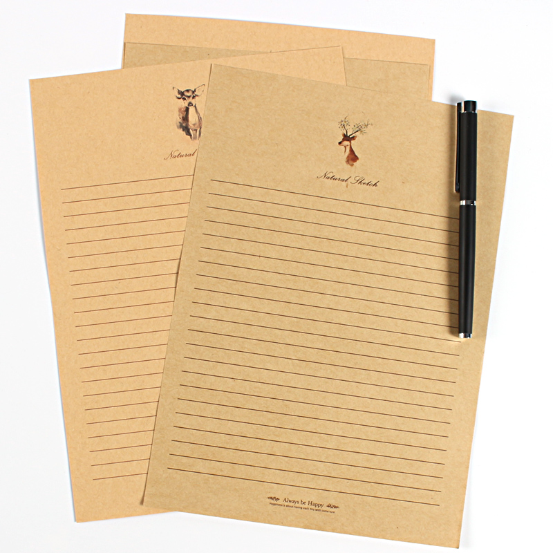 10 Pcs/lot European Vintage Deer Style Writing Paper Stationary Letter Set Envelope Cards Letters Christmas Love Letras