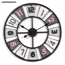 homingdeco 60cm creative wooden retro round wall clock household hollowout iron hanging clock household