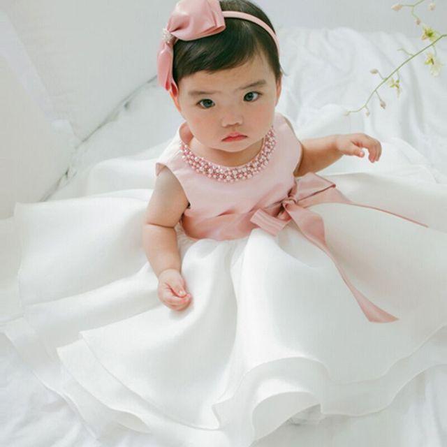 Atacado Varejo Frete Grátis! 2016 Princesa Gaze Sem Mangas Pérolas Vestido Bebê Meninas Crianças crianças Partido Vestido Laço de Fita
