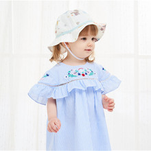 Baby Girl Bucket Hat Infant Boy Cotton Basin Cap Thin Breathable Gauze Fabric for Spring and Summer Fisherman Sun