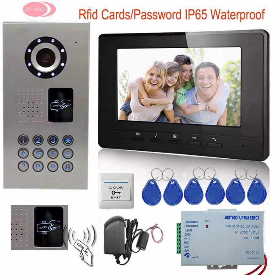 SUNFLOWERVDP Home Video Door Phone Doorphones 7 Monitor Video Intercom For The Apartment Rfid Video Doorbell IP65 Waterproof