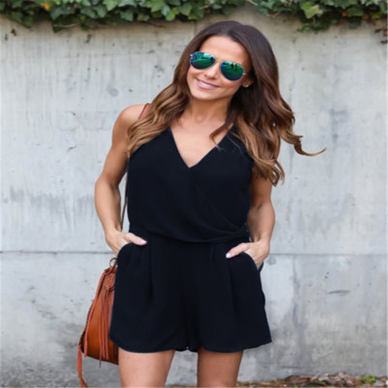 Sexy Women Playsuit & Rompers V Neck Straps Playsuit Bandage Bodycon Mini One-Piece Club Jumpsuits
